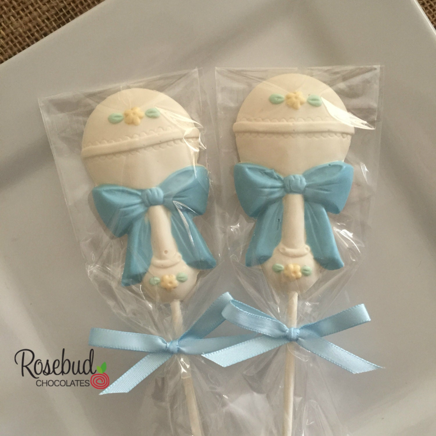 Baby Shower Favors Chocolate Baby Rattle Lollipops Dessert