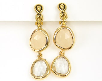 Beige Clip on Earrings Tan Teardrop Dangle Clip Earrings Antique Gold Drop |EB2-18