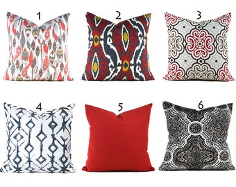 Pillow Covers ANY SIZE Decorative Pillow Cover Black and Red Pillows Black Pillows You Choose