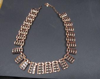 Vintage art deco style copper necklace