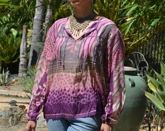Vtg 70's India NWOT DEADSTOCK Boho floral abstract rose/purple block print sheer thin cotton gauze long poet sleeve tunic top blouse sz S//M