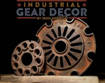 Antique Industrial Cast Iron Gear Decor