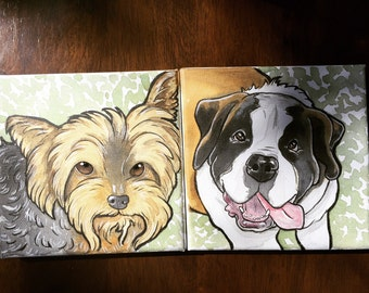 6x6 Custom Pet Portrait on canvas