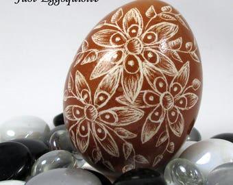 Pysanky Pisanki Ukrainian Polish Easter Egg Brown Columbine Hand Decorated Chicken Egg Skrobanki Drapanki Dryapanky Scratch Technique