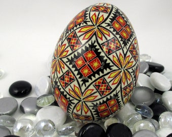 Pysanky Pisanki Ukrainian Polish Easter Egg Red Yellow and Black Rings Hand Decorated Goose Egg
