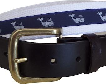 White Whale Leather Belt / Leather Belt / Canvas Belt / Preppy Webbing Belt for Men, Women and Children/White Whale Leather Belt on White