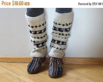 BLACK FRIDAY SALE Sale Boot cuffs hand knitted Leg warmers Scandinavian topper white cream black handmade patterned gaiters ready to ship Wo