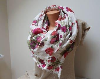 Floral Linen flax Unisex Scarf Shawl rose peony red burgundy green bouquet fringe eco ooak statement women girl teen feltinga washed pink