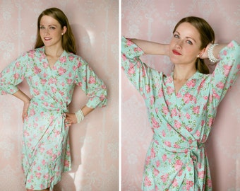 4 floral robes or dressing gowns in a faux crepe de chine. Wrap around dress, bridesmaid robes, bridal party robes. Silk bridesmaids robes.