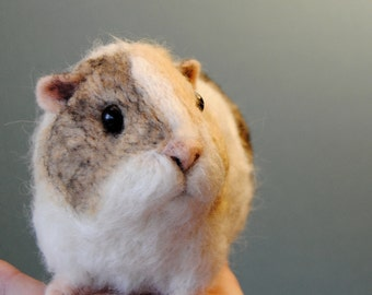 Needle Felted Short Haired Guinea Pig, Custom Made Guinea Pig, Needle Felted Pet Sculpture, Commemorative Pet Portrait