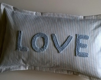 Crochet Love Blue Ticking Cushion Cover