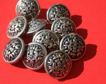 Vintage Lot of Coat of Arms Metal Buttons, Military Shield Round Silver Colored Shank Back Jewelry Craft Buttons, 3/4 inch