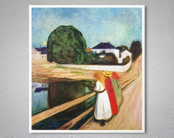 The Girls on the Bridge by Edvard Munch - Poster Paper, Sticker or Canvas Print
