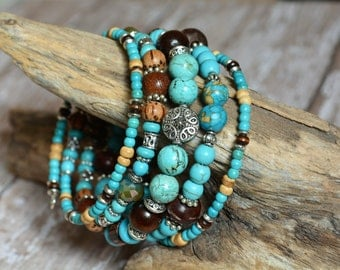 Turquoise & Wood Bracelet Beaded Memory Wire Boho Wrap Southwestern Stacked Layered Bohemian New Age Jewelry Gifts for Her Birthday BJGB77