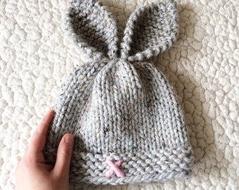 Rustic Knit Bunny Toque - 1 - 2 years
