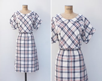 1980s Dress - Vintage 80s White Red Navy Plaid Dress - Brunch For Two Dress