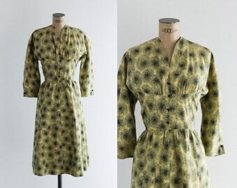1950s Dress - Vintage 1950s Yello Black Cotton Dress - Sol y Sombra Dress