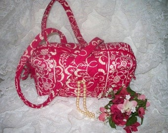 Vera Bradley Handbag - Twirly Bird - Hot Pink White -  Zipper  Closure -Interior Pockets - Retired Pattern