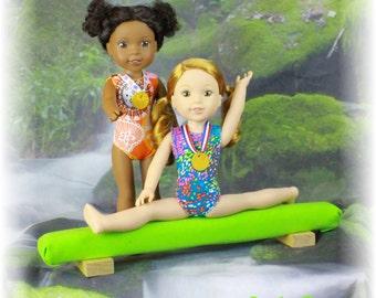 Fun Fabrics Doll Leotards, Medals & Neon Green Beam - WellieWishers Dolls