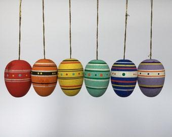 Set of 6. Vintage Hand Painted Easter Egg Ornaments. German. 2017_030