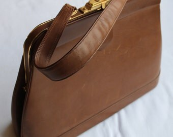 Vintage GLADSTONE Style HANDBAG Beautiful Leather High QUALITY from 1960s