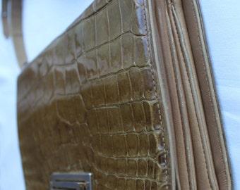 Vintage SHOULDER BAG - Stunning Item Patent Leather MOCCROCK Khaki/Brown shade.Valentines Gift