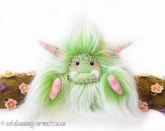"Yeti artist bear, pastel green and white faux fur monster plush, art doll, handmade yeti plush ""Herbie"", fantasy creature, collectible toy"