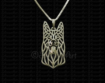 Black German Shepherd dog - gold pendant and necklace.
