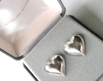 Vintage STERLING SILVER HEARTS Pierced Earrings, Valentines Day, Birthday, Gift