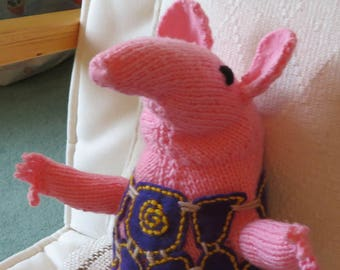 Small Clanger, CBeebies TV character, from official BBC pattern.