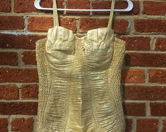 SPRING CLEANING Vintage 1950's Gold Lame Posing Suit // VLV // Bombshell Swimsuit // Pinup Bathing Suit // Alix of Miami // Curvy Cut