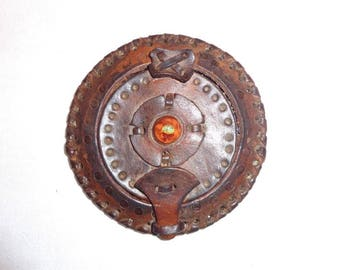 Vintage Leather Mirror Compact. Lady Accessories Mirror