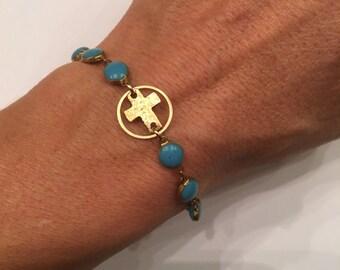 Cross Bracelet, Beaded Cross Bracelet, Turquoise Beaded Bracelet, Cross Charm Bracelet, Gift Idea