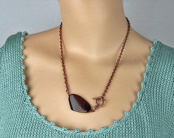 Brown Agate Pendant, Copper Wire Wrapped, Semi Precious Stone, Antiqued Copper, Mahogany Tones, Dramatic Statement, Unique Offset Design