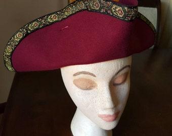 Pirate tricorn - burgundy vegan wool hat with fancy ribbon trim.