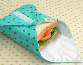 Reusable Sandwich Wrap, Reusable Fabric Lunch Wrap, Eco friendly Sandwich Wrap, Reusable Lunch Place mat, Teal Brown Polka Dot