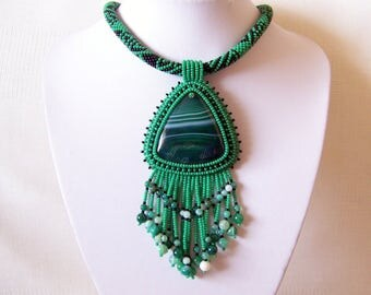 Green Agate necklace - Beadwork Bead Embroidery Pendant Necklace - Fringe necklace - Statement necklace - GREEN WAVES - agate pendant