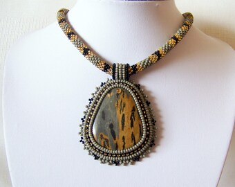 Beadwork Bead Embroidery Pendant Necklace with Chohua Jasper - GREY MEADOW - grey - black - gold - modern necklace - beadwork necklace