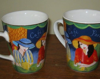 Cafe Paris Mugs by Furio Pristine Condition 4.24 tall 3.5 diameter latte cappuchino Pair