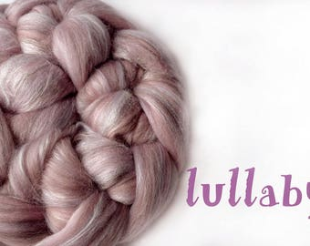 LULLABY - blended roving - Merino - Tussah silk - 100g/3.5oz - pink - mushroom