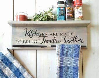 Kitchen Towel Holder, Spice Shelf, Kitchen Decor, Farmhouse Decor, Spice  Rack,