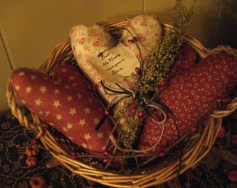 SALE!!!   Primitive Set of Three Heart Ornies, Sweet Annie, Five Pipberry Picks Valentines Day Was 15.00, now 12.00