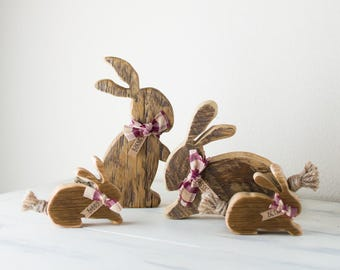 Wood Bunnies, Family of Four Rustic Barnwood Rabbits - Personalized
