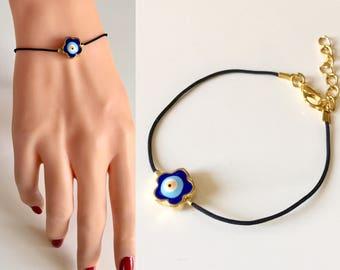 Daisy Blue Evil Eye Bracelet, Black String Evil Eye Bracelet, Evil Eye Jewelry, Amulet BCharm Bracelet, Evil Eye Findings, Daisy Jewelry