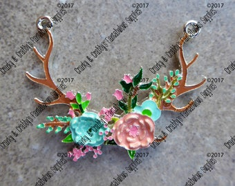 CUSTOM Gypsy Chic Antlers  - Enameled -  Chunky Necklaces - 46mm x 53mm  - Deer Stag Horns