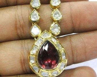 Vintage antique enamel work Solid 20K Gold Diamond rhodolite Necklace pendant