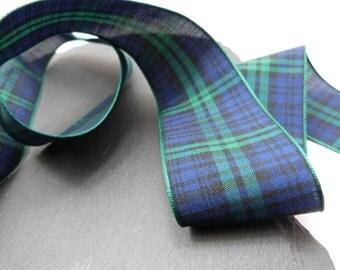 Blackwatch Scottish Tartan Ribbon 40mm Wide Berisfords Per Metre