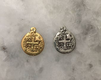 Ancient Pirate Doubloon, Gold or Silver, Charm, Replica, Pieces of Eight Coin, 2 Sided, Lead Free Pewter