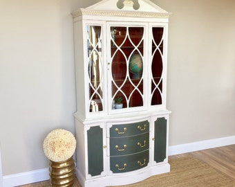 Painted China Cabinet - Federal Style Furniture - Home Bar Cabinet - Fixer Upper Decor - Distressed Furniture - Bookcase - Hutch Cabinet