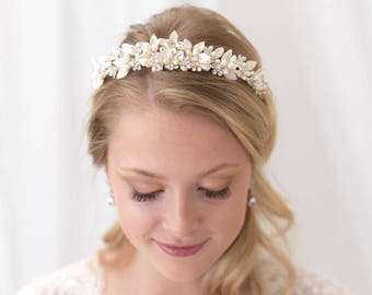 Pearl Bridal Tiara, Pearl Wedding Tiara, Freshwater Pearl Wedding Crown, Pearl Bridal Crown, Floral Crown, Flower Crown,Bride Tiara ~TI-3306